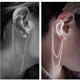Leaf Ear Cuff & Chain Choice Of Bronze Or Silver Or Gold