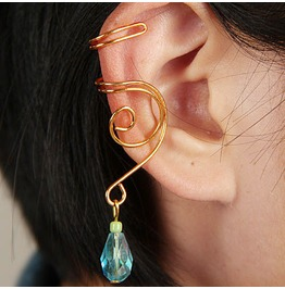 Gold Ear Cuff Ear Wrap Turquoise Green Crystal No Piercing Required!
