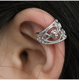 Silver Kitty Cat Ear Wrap / Ear Cuff