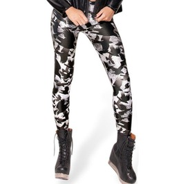 Regular/Plus Size Crows Black/White Digitally Printed Fall Leggings