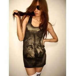 Wolf Animal Big Print White Punk Rock Street Tank Top