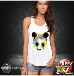 Fc0026 Ladies Girls Womans Panda Paint White Cotton Summer Tank Top Fashion