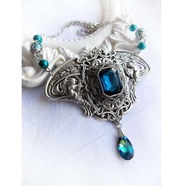Royalty Flight Bermuda Blue Necklace Swarovski Crystal Teardrop Medieval Fantasy Gothic Romantic Jewelry