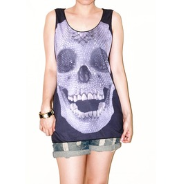 Diamond Skull Glitter Black Tunic Shirt Tank Top Size M