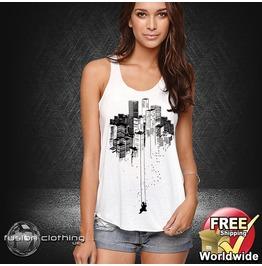 Fc0064 Ladies Girls Womans Vest City Scape Swinging Girl White Cotton Summer Tank Top Fashion