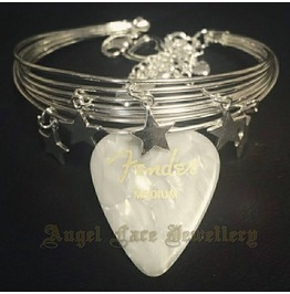 Silver Plated Guitar Strings Bracelet (With 925 Silver Stars)