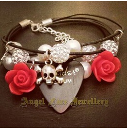 Leather Strand Bracelet Swarovski Crystal Skull Detail