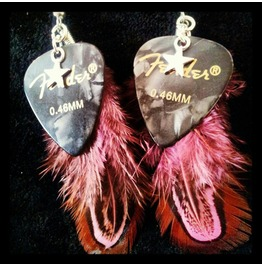925 Silver Feather Guitar Pick Earrings