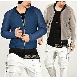 Cool Casual Mesh Zip Jacket 90 (Blue)