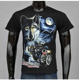 Wild Wolf Printed Black Short Sleeve T Shirt