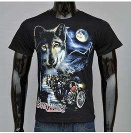 Wild Wolf Printed Black Short Sleeve T Shirt