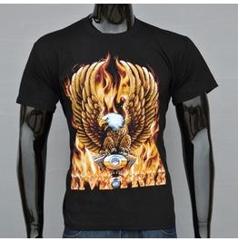 Eagle Fire Printed Black Short Sleeve T Shirt