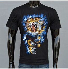 Tiger Printed Black Short Sleeve T Shirt