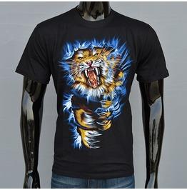 Tiger Printed Black Short Sleeve T Shirt