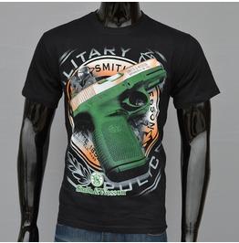 Gun Printed Black Short Sleeve T Shirt