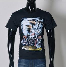 Eagle Motorcycle Printed Black Short Sleeve T Shirt