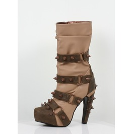 Hades Shoes Bjorn Tan Steampunk Booties