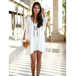 Sexy Deep Neckline Slit Long Sleeves Dress