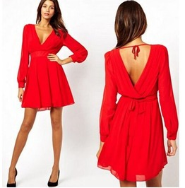 Deep Neckline Long Sleeves Red Dress