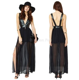 Sexy Backless P U Leather Patchwork Black Chiffon Dress