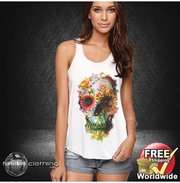 Fc0100 Ladies Girls Womans Vest Skull Full Flowers White Cotton Summer Tank Top Fashion