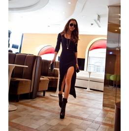 Assymetrical Long Sleeve Black And Gray Dress