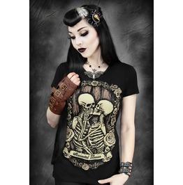 Black Skeleton Digitally Printed Short Sleeve T Shirt Women