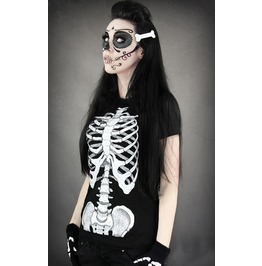 Black white skeleton digitally printed short sleeve t shirt for women t shirts 2