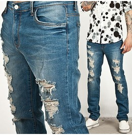 Cool Heavy Distressed Washing Straight Jeans 105
