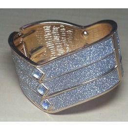 Vintage Cuff Bangle Bracelet Modern Fashion Jewelry Diamond Dust Glitter #6
