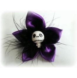 Violet Satin Skull Hair Clip
