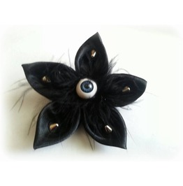 Hair Clip Satin Eye Feather Rivets