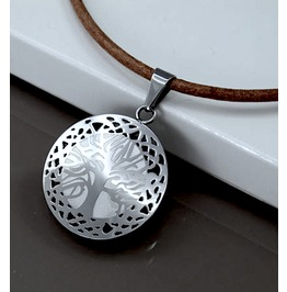 Awesome Stainless Steel Tree Life Pendant Leather Strap