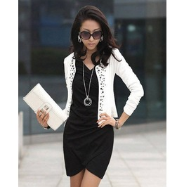 Black/White Rivet Coat Long Sleeve Small Jacket