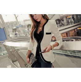Regular/Plus Size Black/White Casual V Neck Long Sleeve Jacket