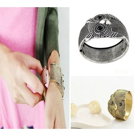 Fashion Women Tibet Silver/ Bronze Carved Owl Bangle Open Cuff Bracelet Gift Antique Silver Bronze Color