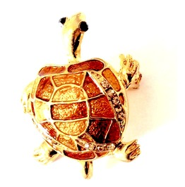 Unique! Stunning Gold Plated Enamel Turtle Black Gemstone Eyes Brooch