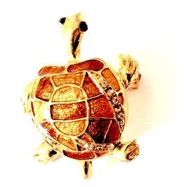 Unique! Stunning Gold Plated Enamel Turtle Black Gemstone Eyes Brooch