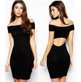 Cut Back Black Short Dress