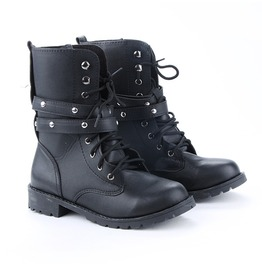 Goth Punk Round Toe Boots Lace Combat Mid Calf Rivet Buckle 1265677 Eed