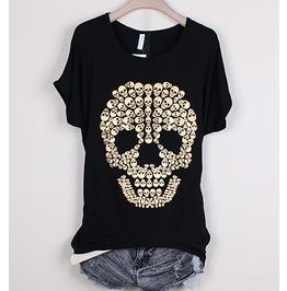 Size Black Skull Printed Short Sleeve T Shirt