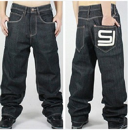 Men's Hip Hop Graffiti Print Baggy Jeans Denim Pants J1