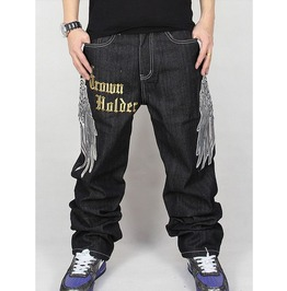 Men's Hip Hop Graffiti Print Baggy Jeans Denim Pants J3