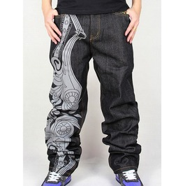 Men's Hip Hop Graffiti Print Baggy Jeans Denim Pants J4
