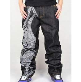 Men's Hip Hop Graffiti Print Baggy Jeans Denim Pants J4