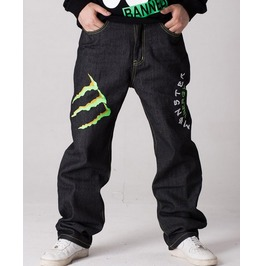Men's Hip Hop Graffiti Print Baggy Jeans Denim Pants J5