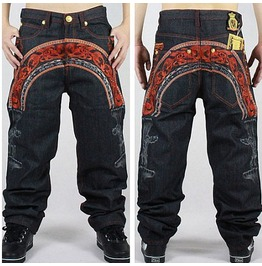Men's Hip Hop Graffiti Print Baggy Jeans Denim Pants J7