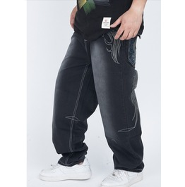 Men's Hip Hop Graffiti Print Baggy Jeans Denim Pants J8