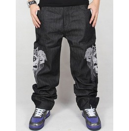 Men's Hip Hop Graffiti Print Baggy Jeans Denim Pants J10
