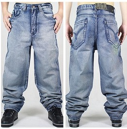Men's Hip Hop Graffiti Print Baggy Jeans Denim Pants J12